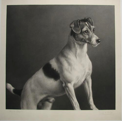 Click to see full size: A mezzotint on India paper of the Smooth-haired Fox Terrier ?Dick? by Joseph Bishop Pratt (English, 1854-1910), after Frank Paton (English, 1856-1909), and published by E. E. Leggatt (Legatt Brothers) of 62 Cheapside, London.
