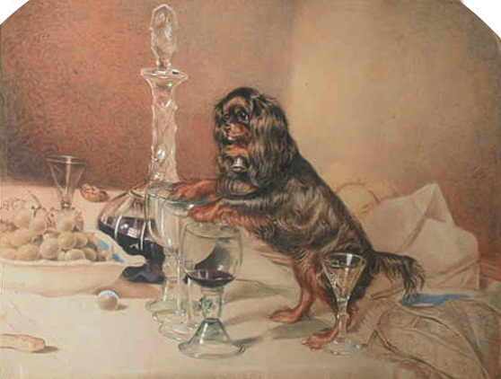 Click to see full size: Watercolour of King Charles Cavalier Spaniel titled a \