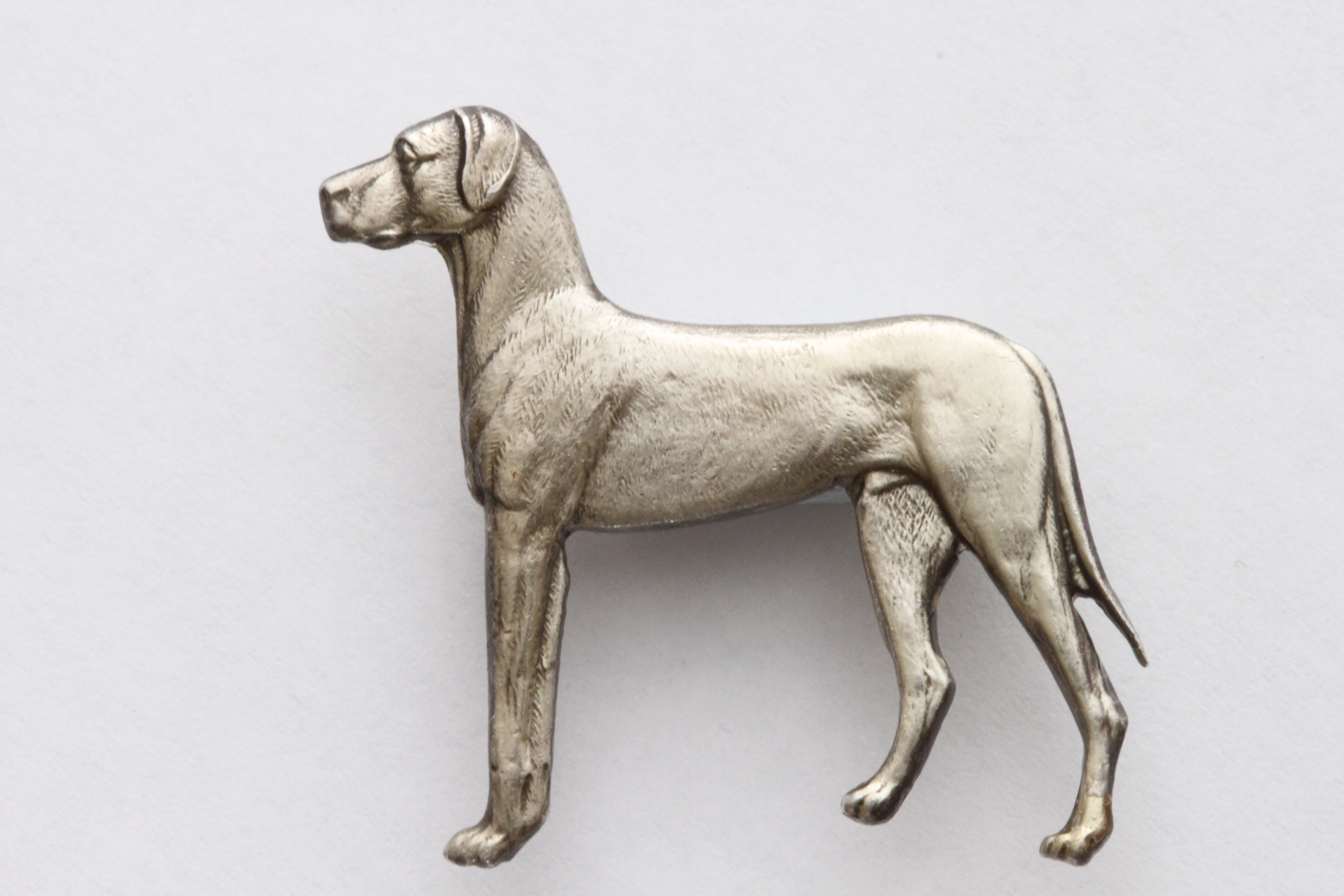 Click to see full size: Silver Kenart Brooch of a standing Great Dane.