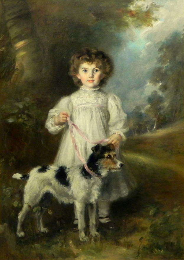 Click to see full size: Early 20th century oil on canvas girl with Wire-haired Fox Terrier / Jack Russell