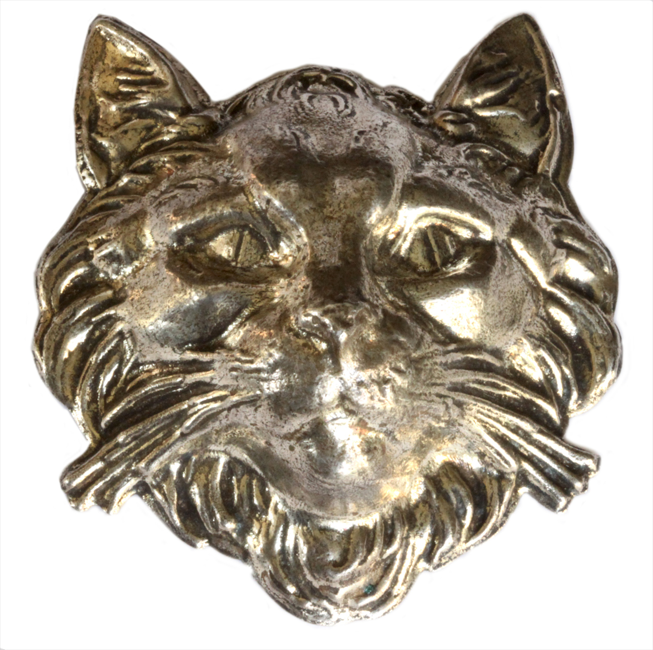 Click to see full size: Silver metal cat?s head brooch