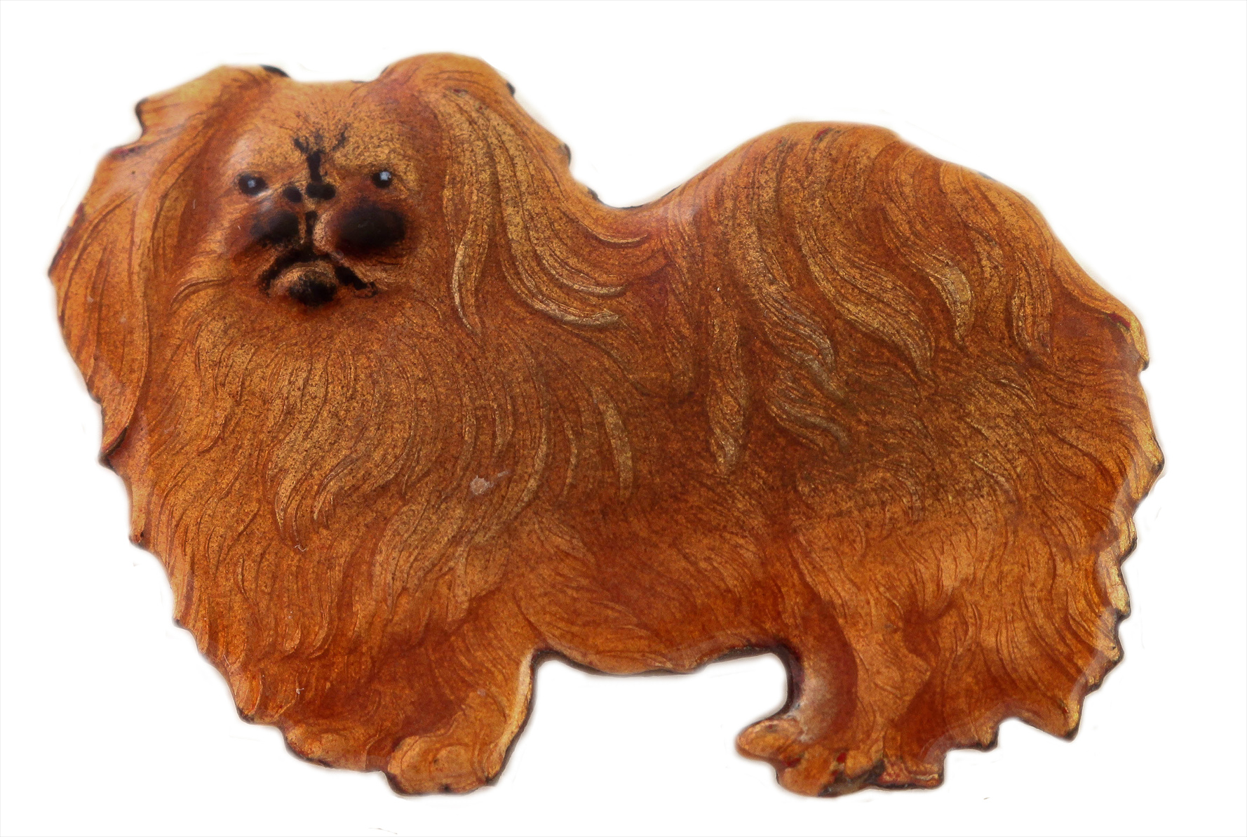 Click to see full size: An enamel brooch of a standing Pekingese by Kenart