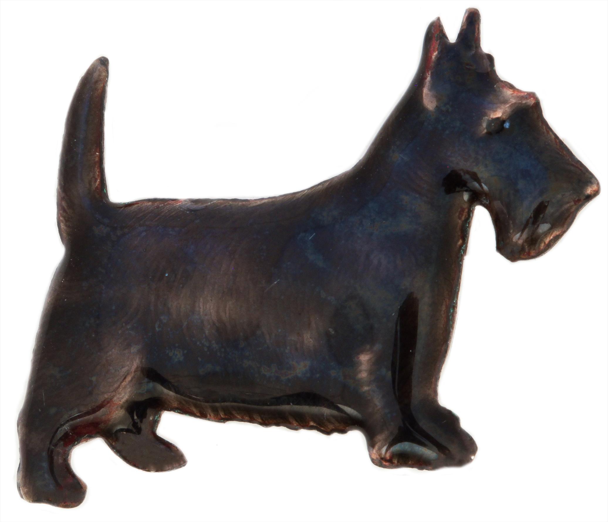 Click to see full size: An enamel Scottish Terrier Kenartbrooc