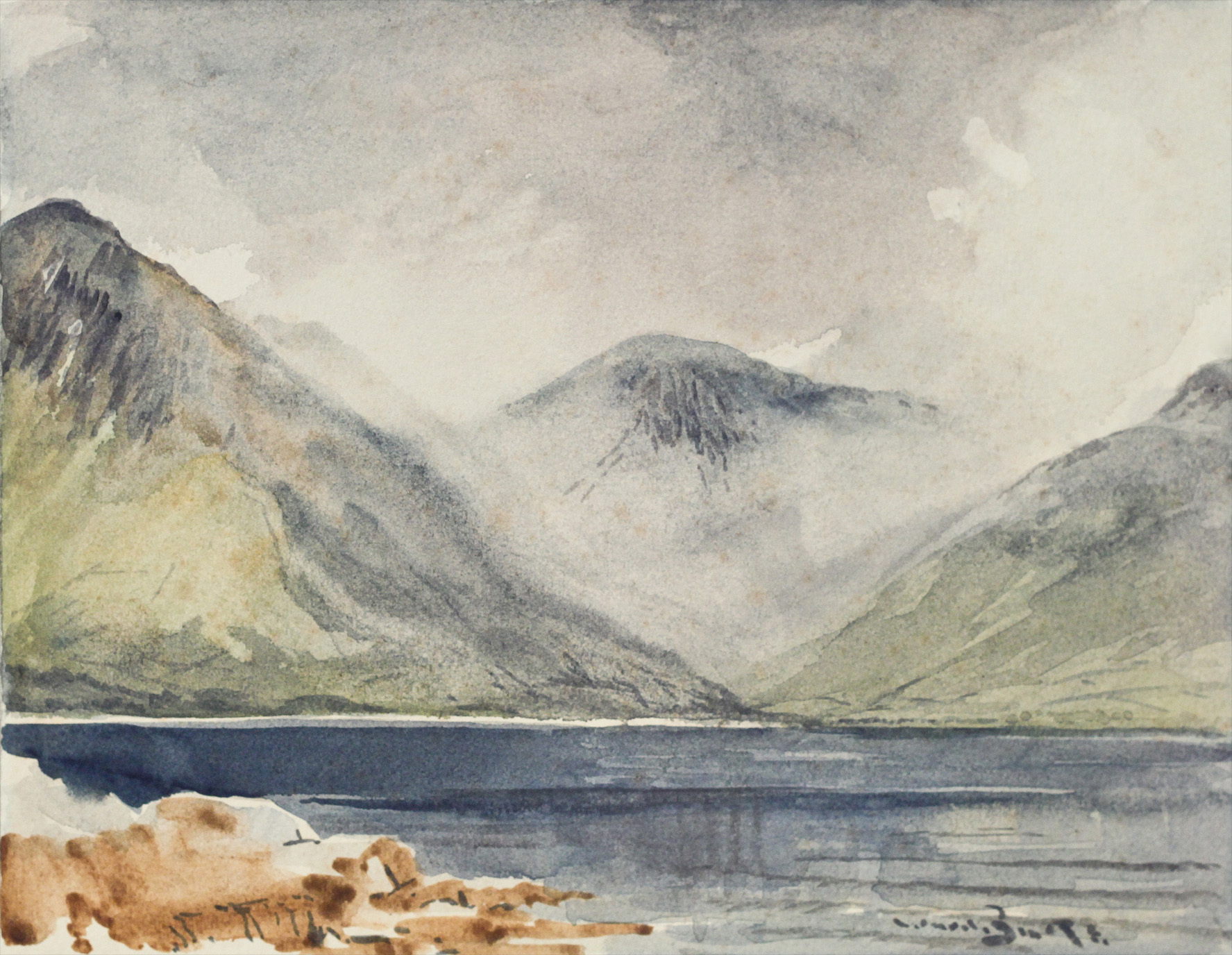 Click to see full size: Watercolour of Wastwater and Great Gable by Reuben Ward Binks (English, 1880-1950)