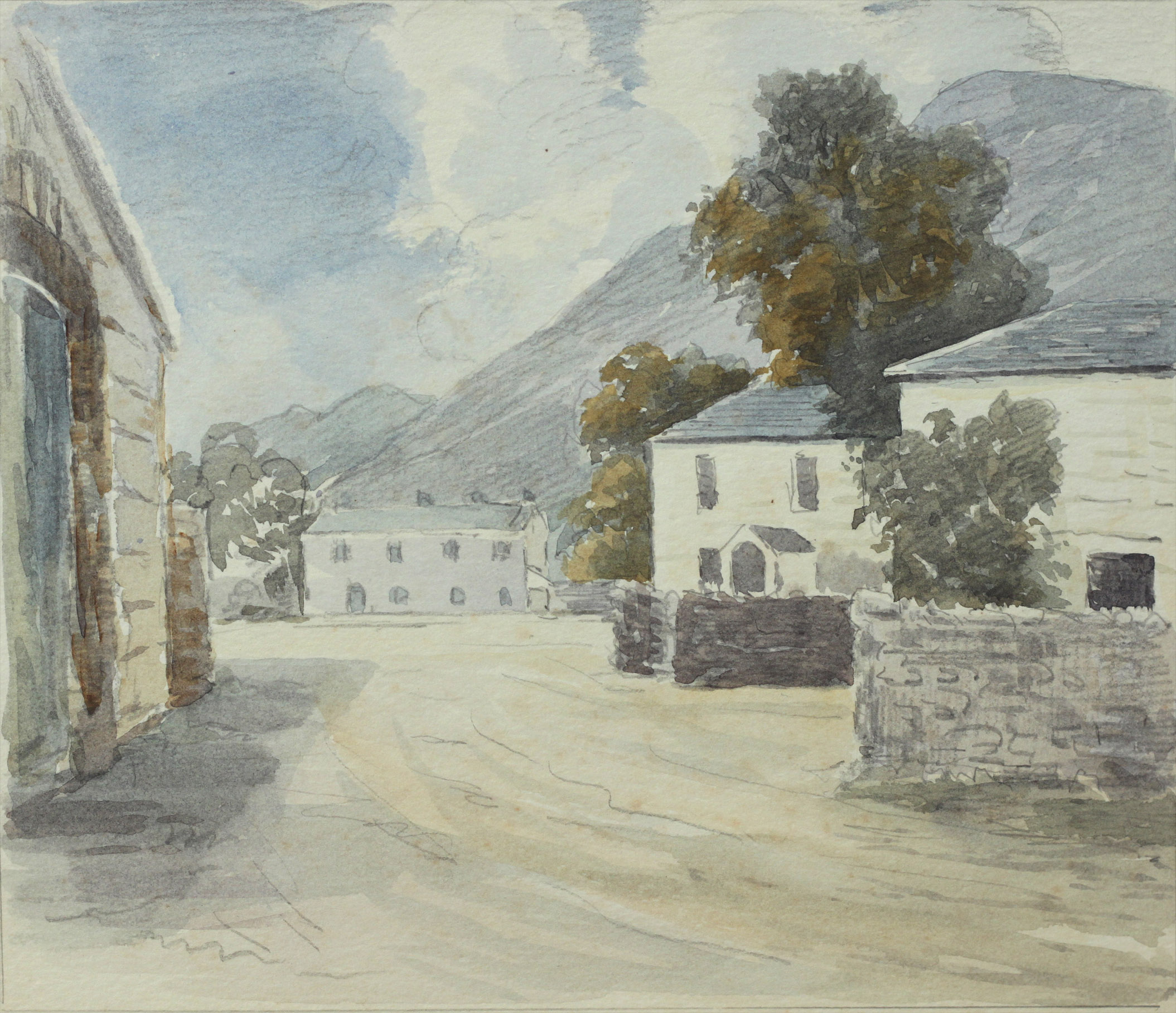Click to see full size: Watercolour of Lake District village by Reuben Ward Binks (English, 1880-1950)