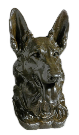 Click to see full size: A bronze of the German Shepherd Champion Xonia of San Miguel by Kay Finch