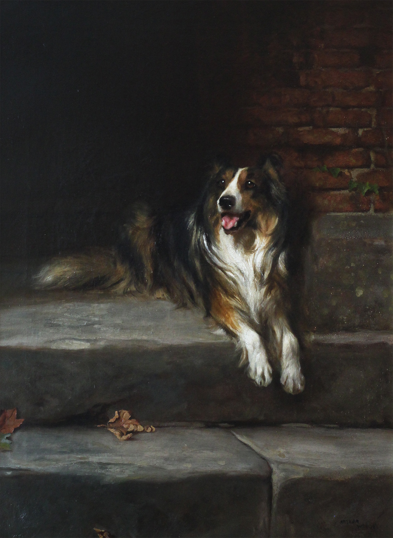 Click to see full size: An oil on canvas a Rough Collie by Arthur Wardle