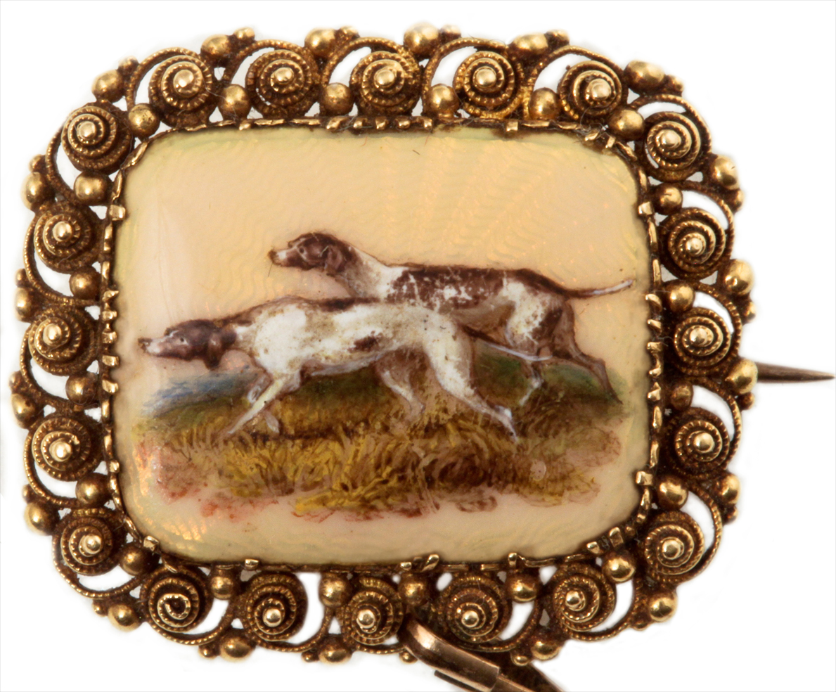 Click to see full size: A gold and guilloch enamel Pointer brooch