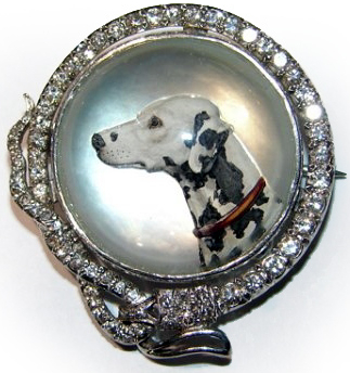 Click to see full size: A diamond set reverse intaglio crystal brooch of a Dalmatian