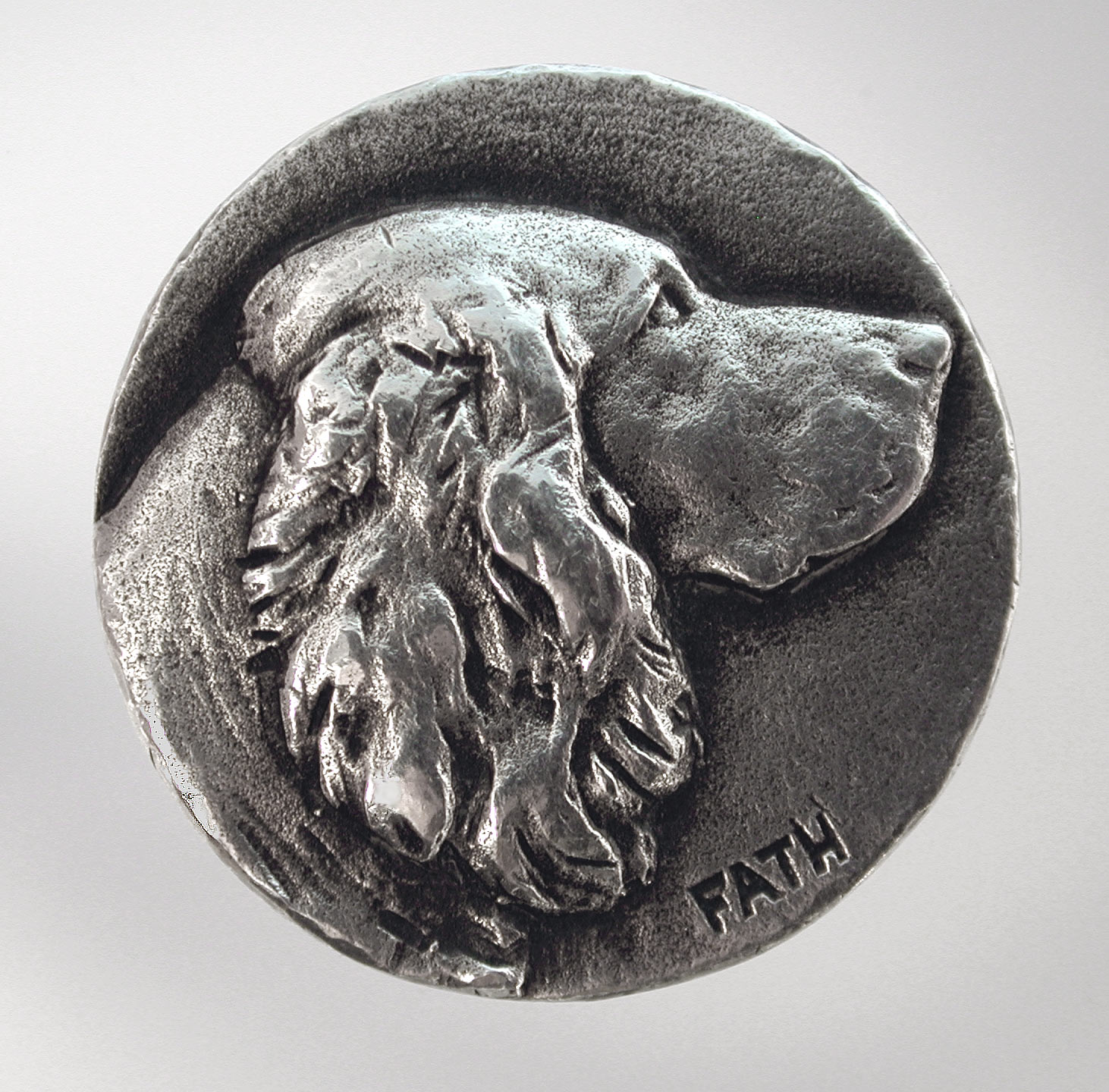 Click to see full size: -  Richard Fath (1900 ? 1952), silvered button medallion pin, of a Cocker Spaniel, French, signed ?Fath?, circa 1940