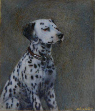 Click to see full size: A miniature on ivory of a Dalmatian Miniature