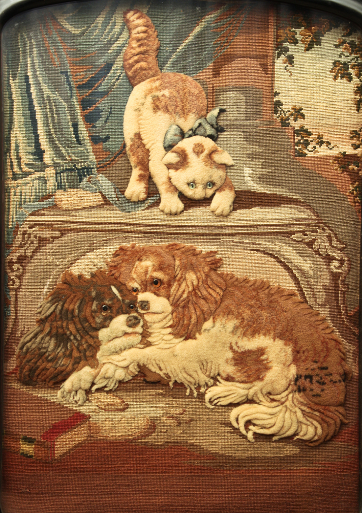 Click to see full size:    19th century ebonised gilt fire-screen with large textile / needlepoint / stumpwork of two King Charles Cavalier Spaniels before an inquisitive cat, after Henriëtte Ronner-Knip (Dutch, 1812 -1909).