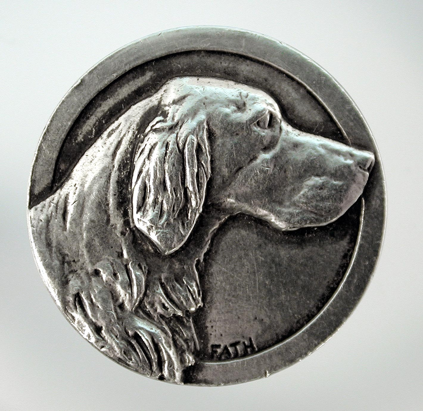 Click to see full size: -  Richard Fath (1900 ? 1952), silvered pin, of a Setter, French, circa 1940, signed ?Fath?.
