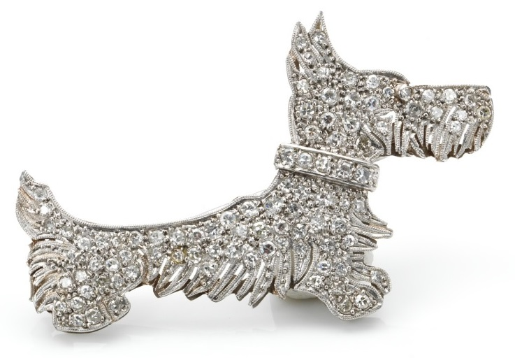 Click to see full size: Platinum and diamond Scottish Terrier brooch