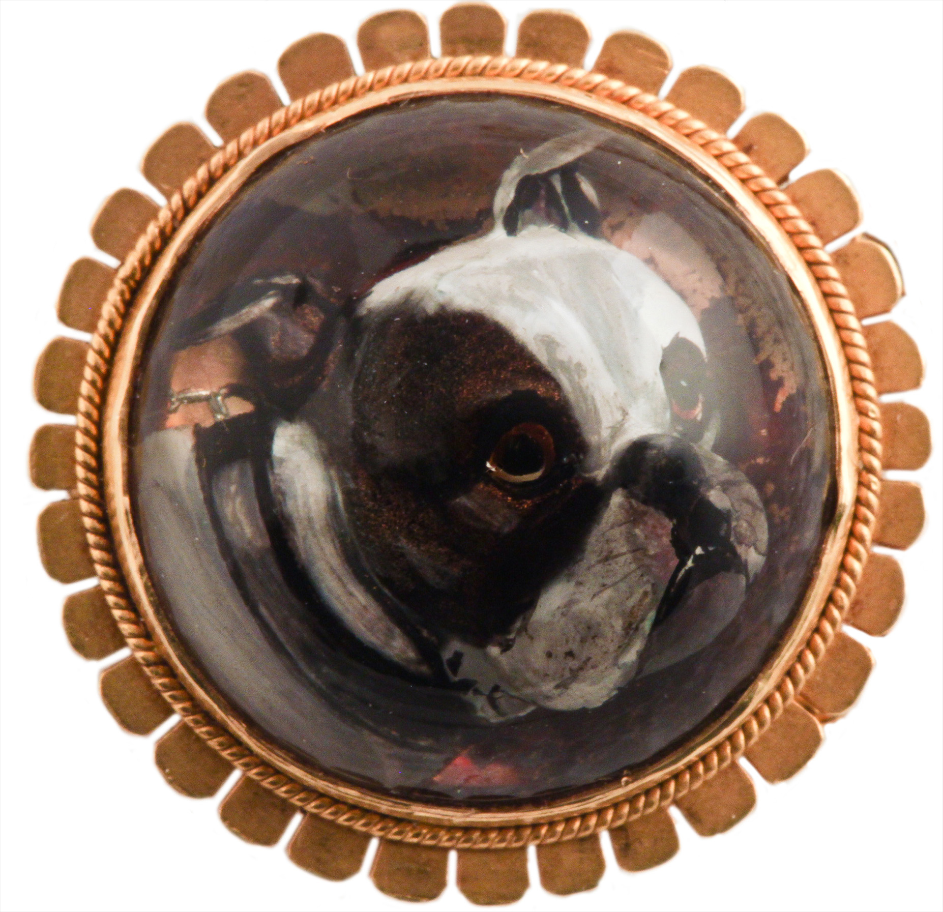 Click to see full size: Gold mounted reverse intaglio crystal brooch of a Bulldog