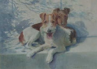Click to see full size: Watercolour of two Wire-haired Fox Terriers by Miss Lucy Marguerite Frobisher RCA, SWA (English, 1915 - 1937) SOLD