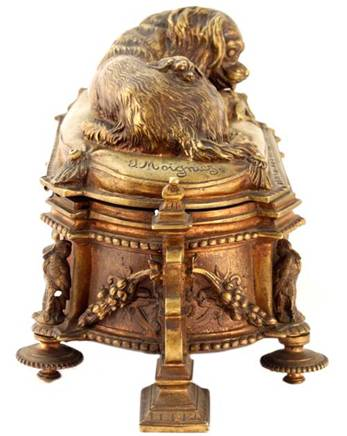 Click for larger image: Exceptional King Charles Cavalier Spaniel bronze box by Jules Moigniez (French, 1835-1894) -