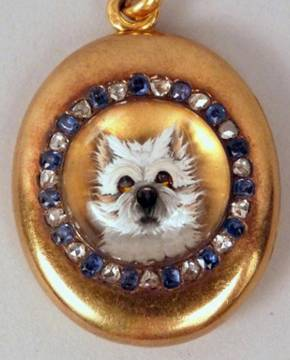 Click to see full size: Reverse intaglio West Highland Terrier crystal