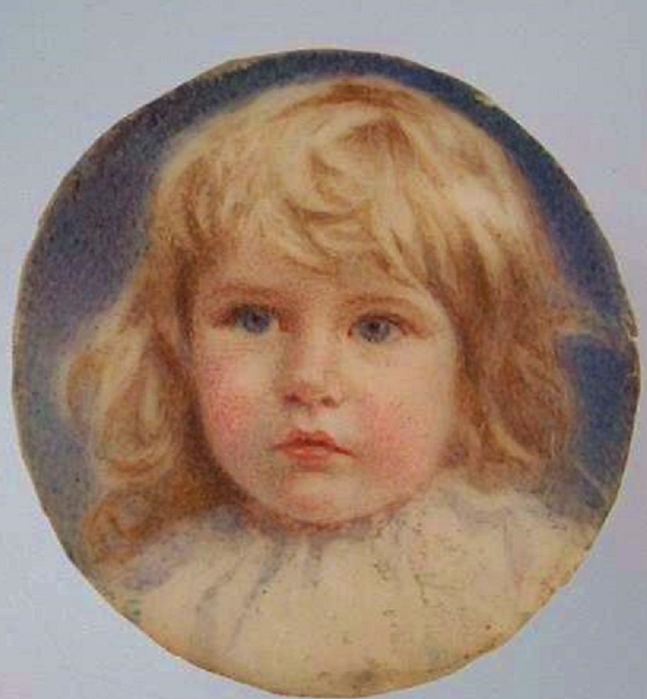 Click to see full size: Miniature on ivory of a young girl by Mrs Minnie Fox (English, 1875-1976)