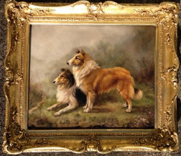 Click to see full size: Rough Collie dogs by Adrienne Lester