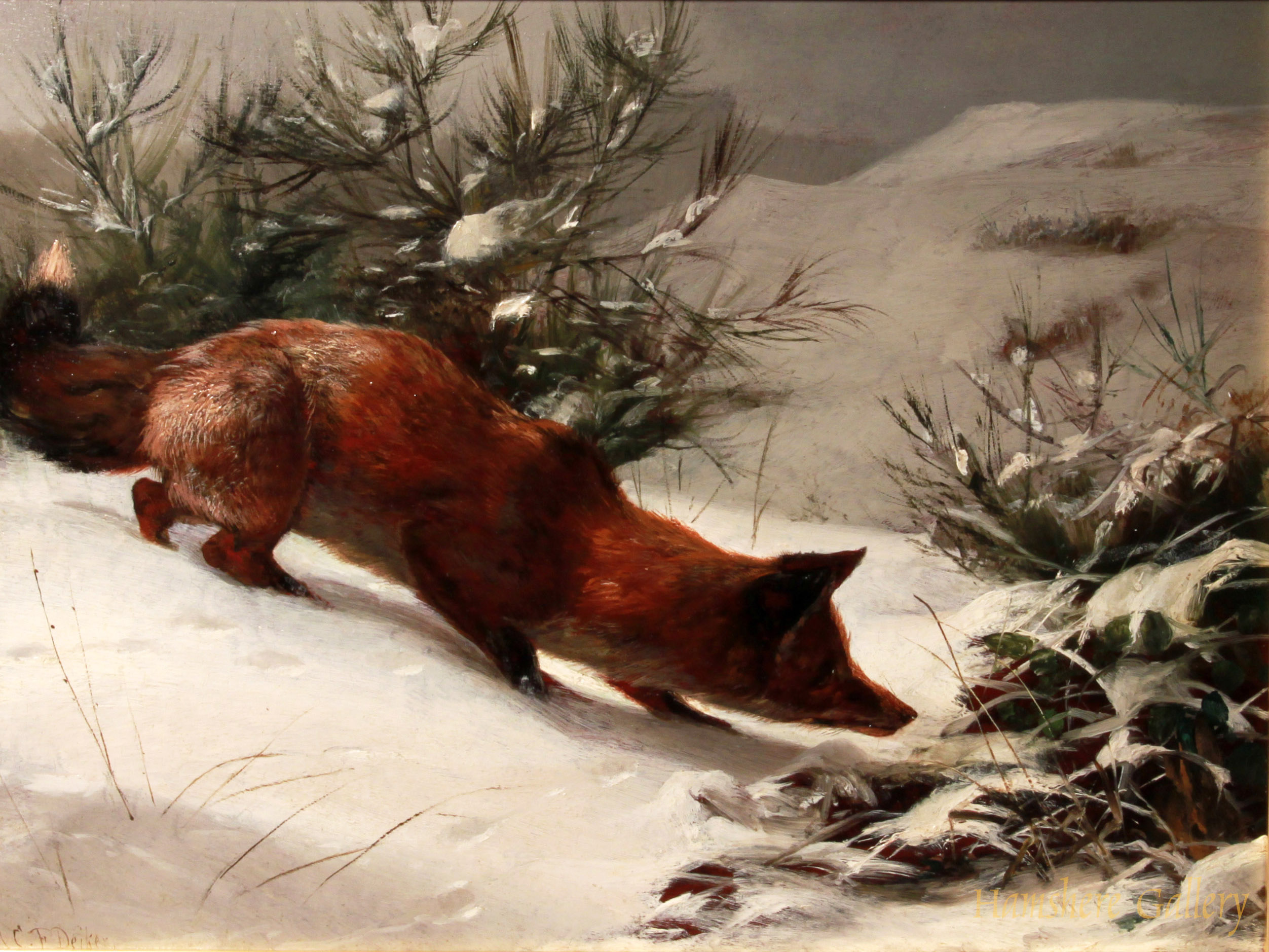 Click to see full size: Fox in snow by Carl Frederick Deiker