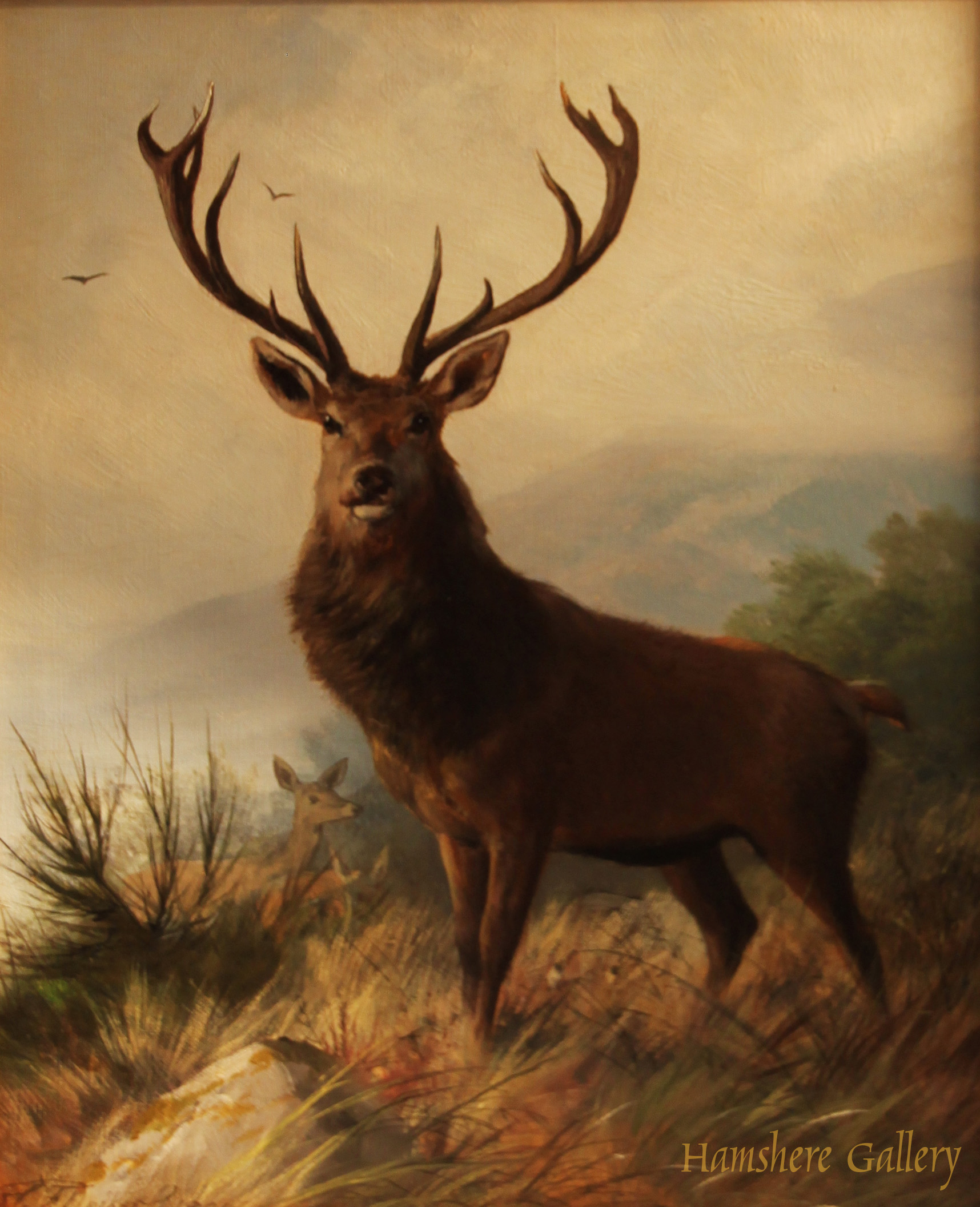 Click to see full size: Oil on canvas of Stag in Highland scene by Carl Frederick