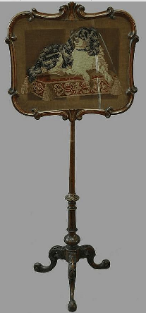 Click to see full size: 19th King Charles Cavalier Spaniel  walnut pole screen