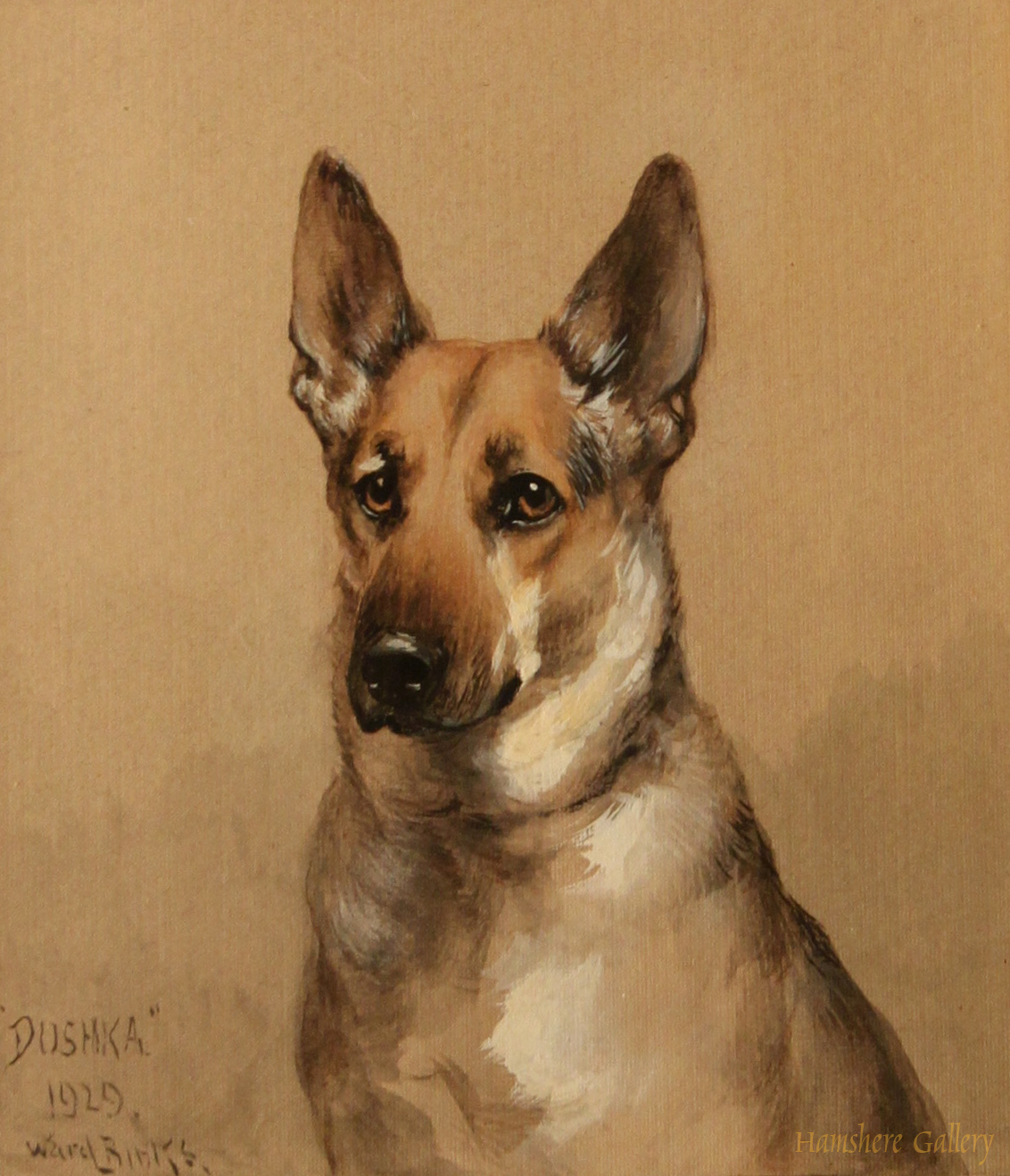 Click to see full size: German Shepherd Dushka by Reuben Ward Binks H. R. H. Prince George, the Duke of Kent with Dushka