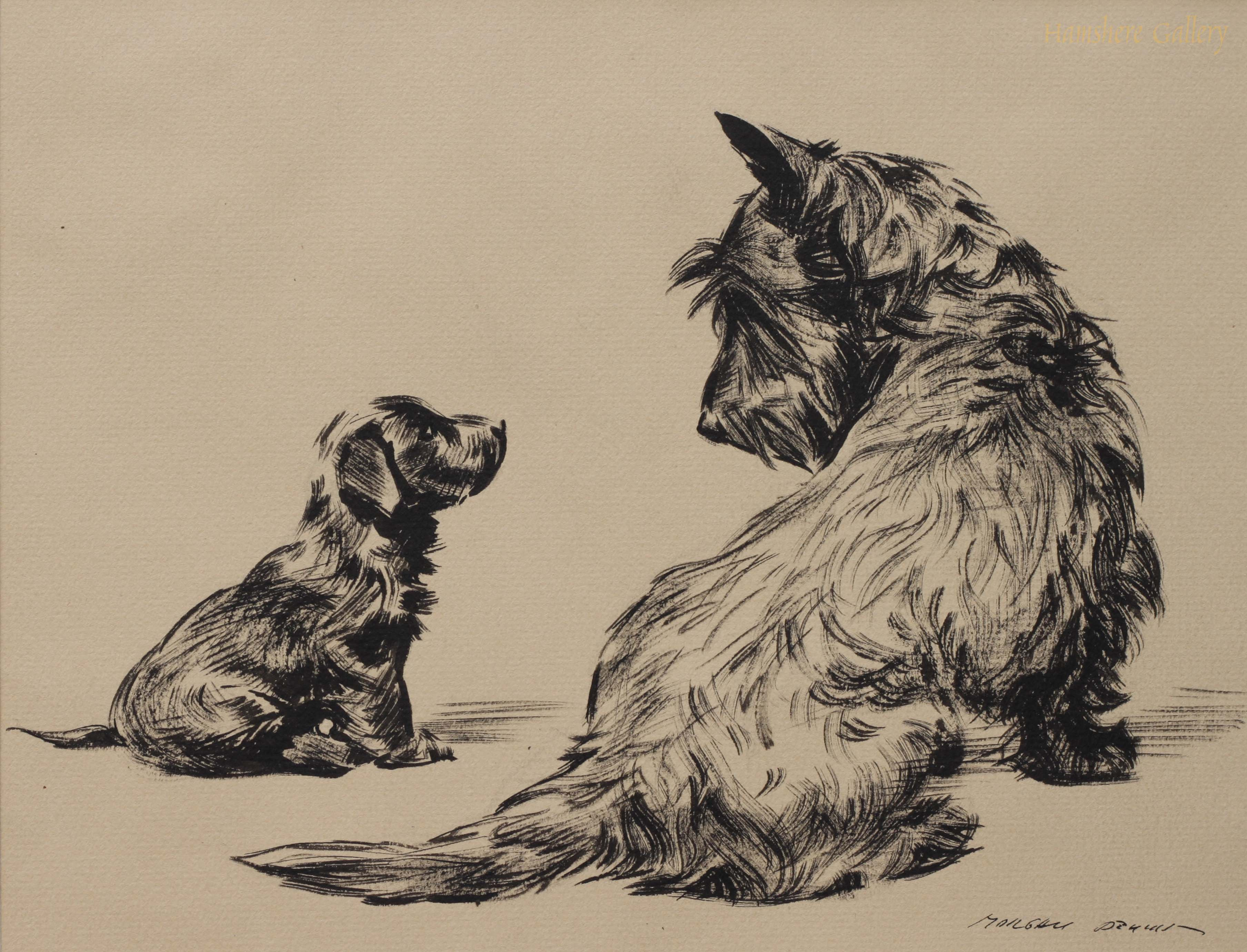 Click to see full size:  Scottish Terrier dogs by Morgan Dennis