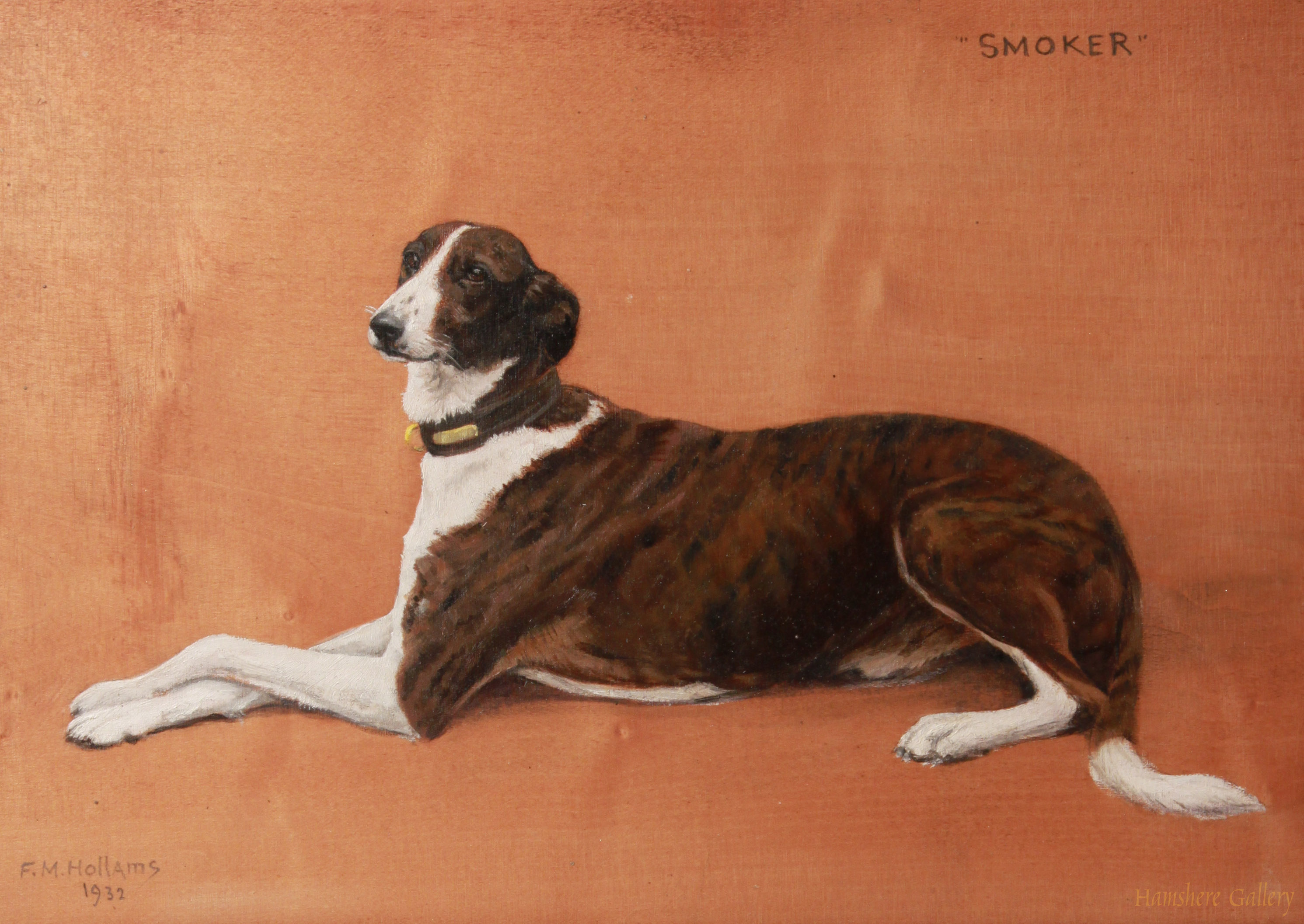 Click to see full size: Greyhound �Smoker� by Florence Mabel Hollams