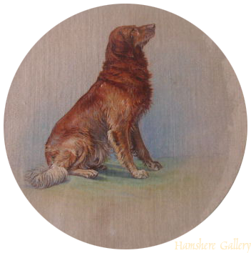 Click to see full size: silk miniature of a seated Golden Retriever