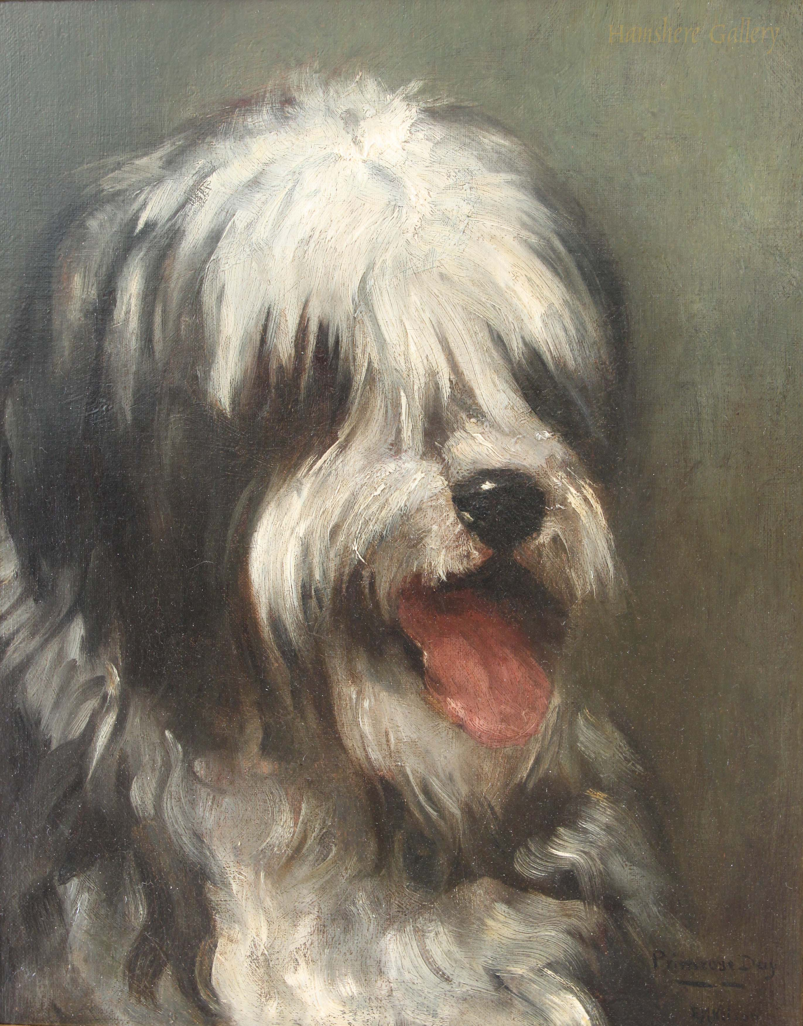 Click to see full size: Oil painting of a Old English Sheepdog  Mrs E. Marion Nelson