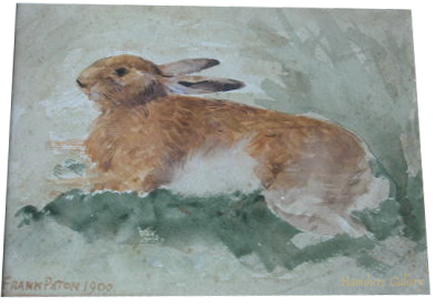 Click to see full size: Watercolour of a hare by Frank Paton