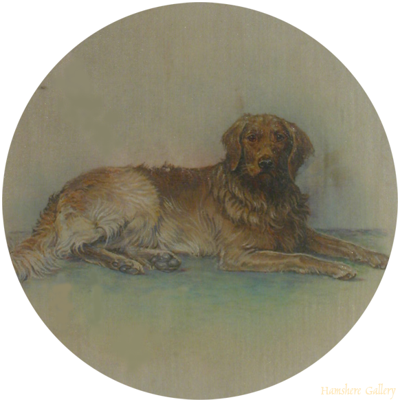 Click to see full size: silk miniature of a recumbent Golden Retriever- silk miniature of a recumbent Golden Retriever
