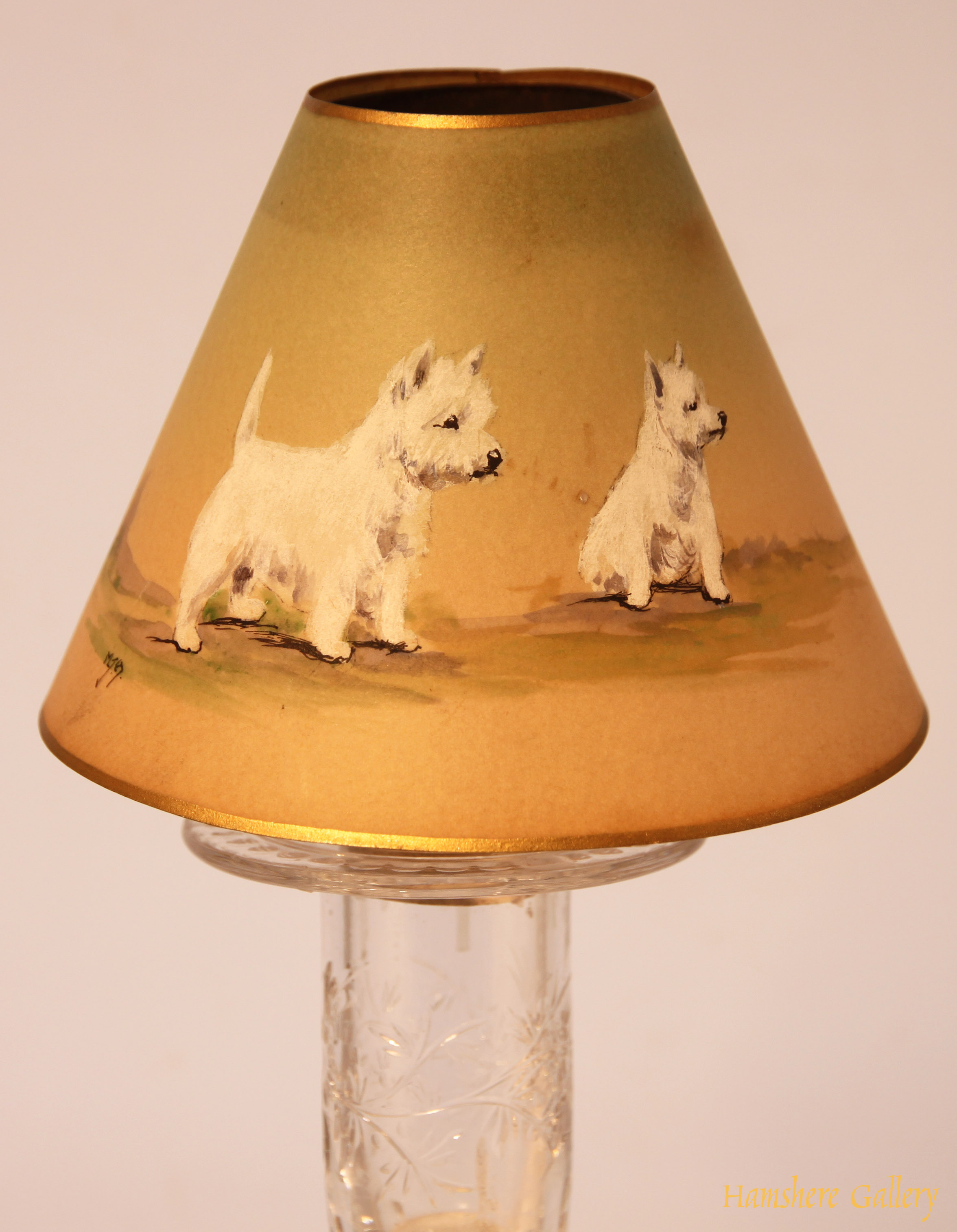 Click to see full size: candle sconce of Wire-haired Fox Terriers