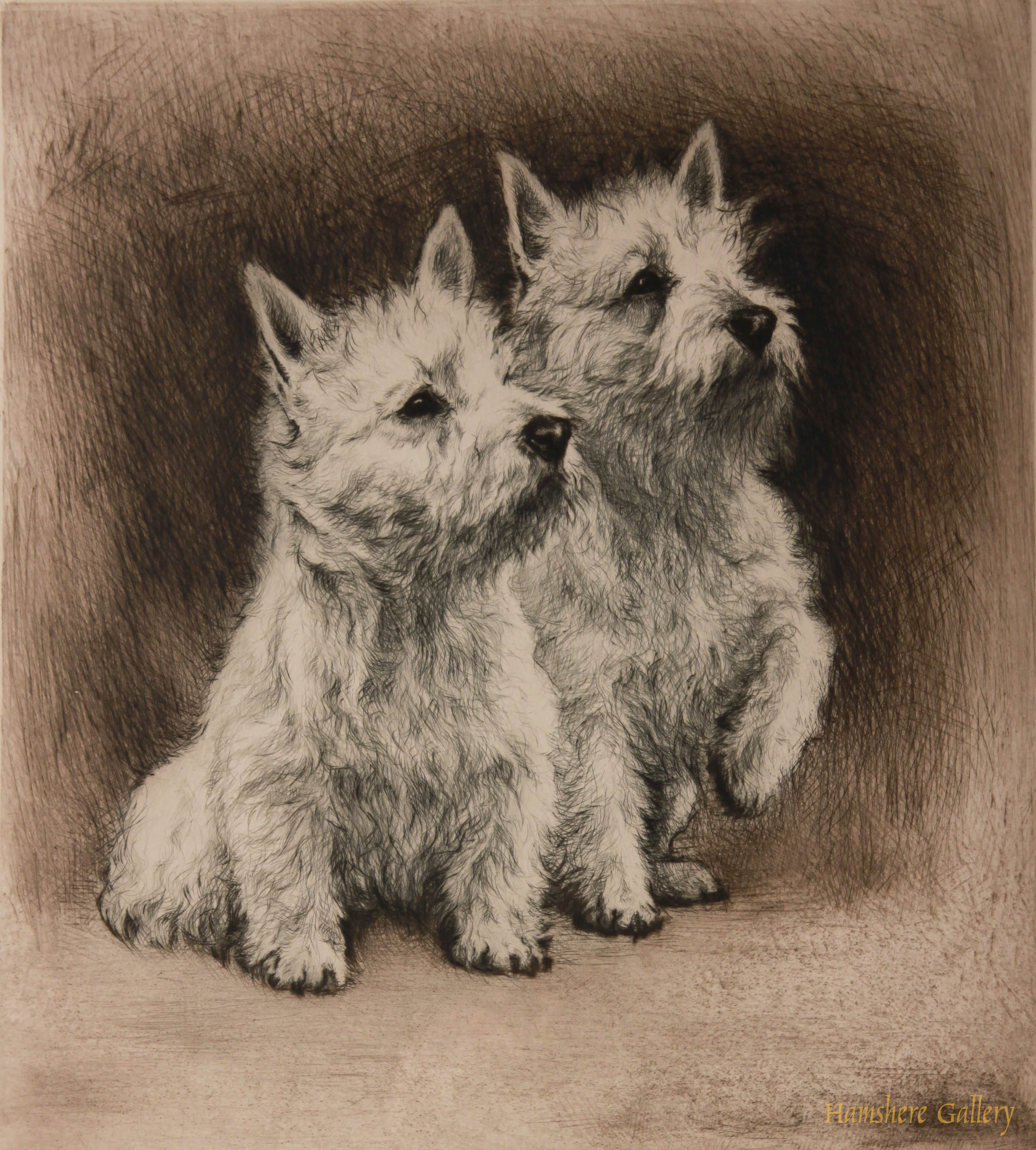 Click to see full size: West Highland Terriers by Hermann Fritz Neumann