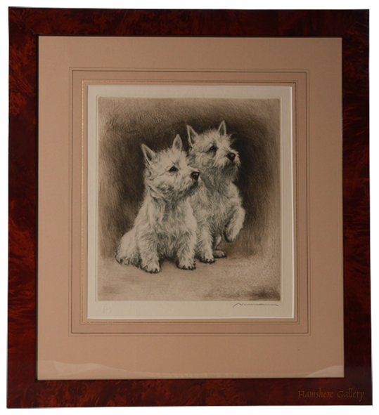 Click for larger image: West Highland Terriers by Hermann Fritz Neumann Frammed - West Highland Terriers by Hermann Fritz Neumann Frammed