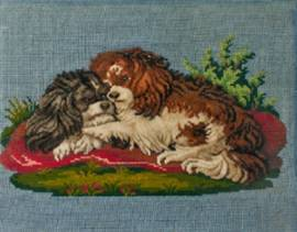 Click to see full size: textile / needlepoint / stumpwork of King Charles Cavalier Spaniel and puppies
