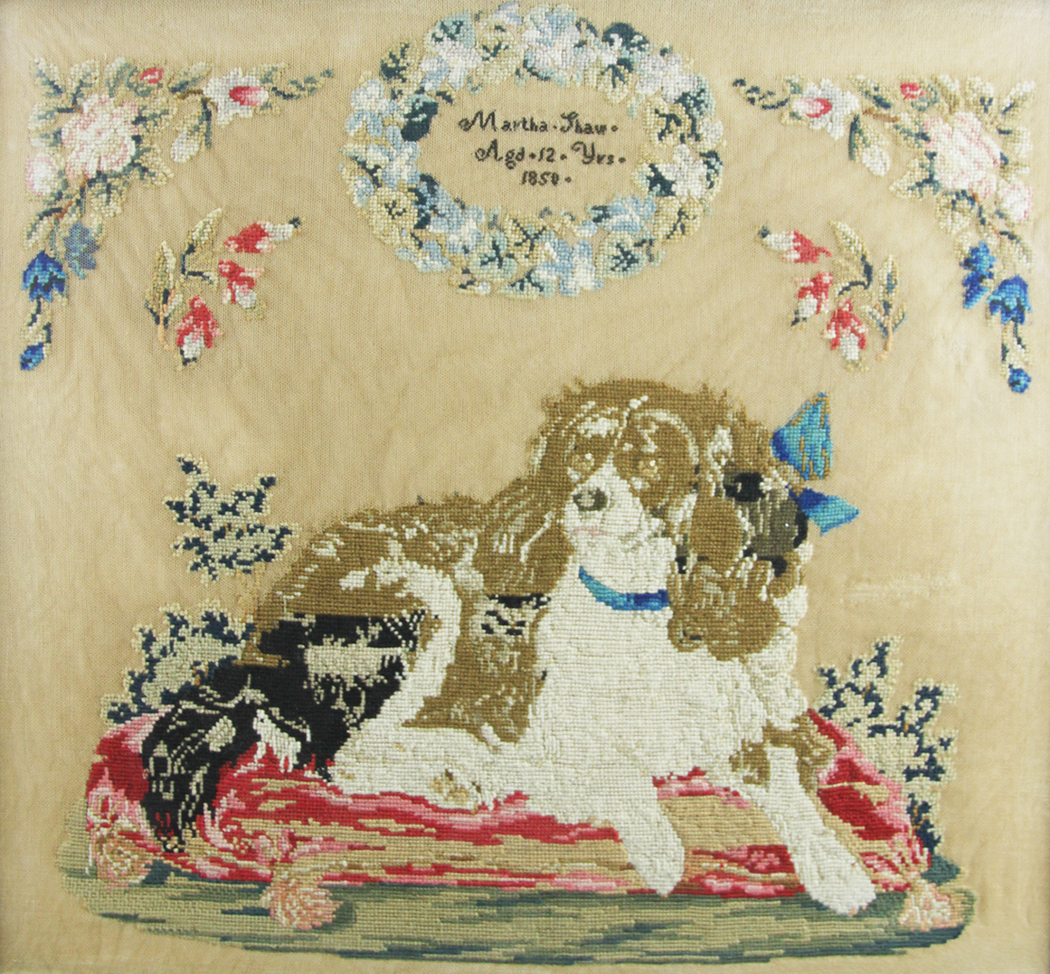 Click to see full size: firesceen with needlepoint of a Cavalier King Charles Spanie by Martha Shaw