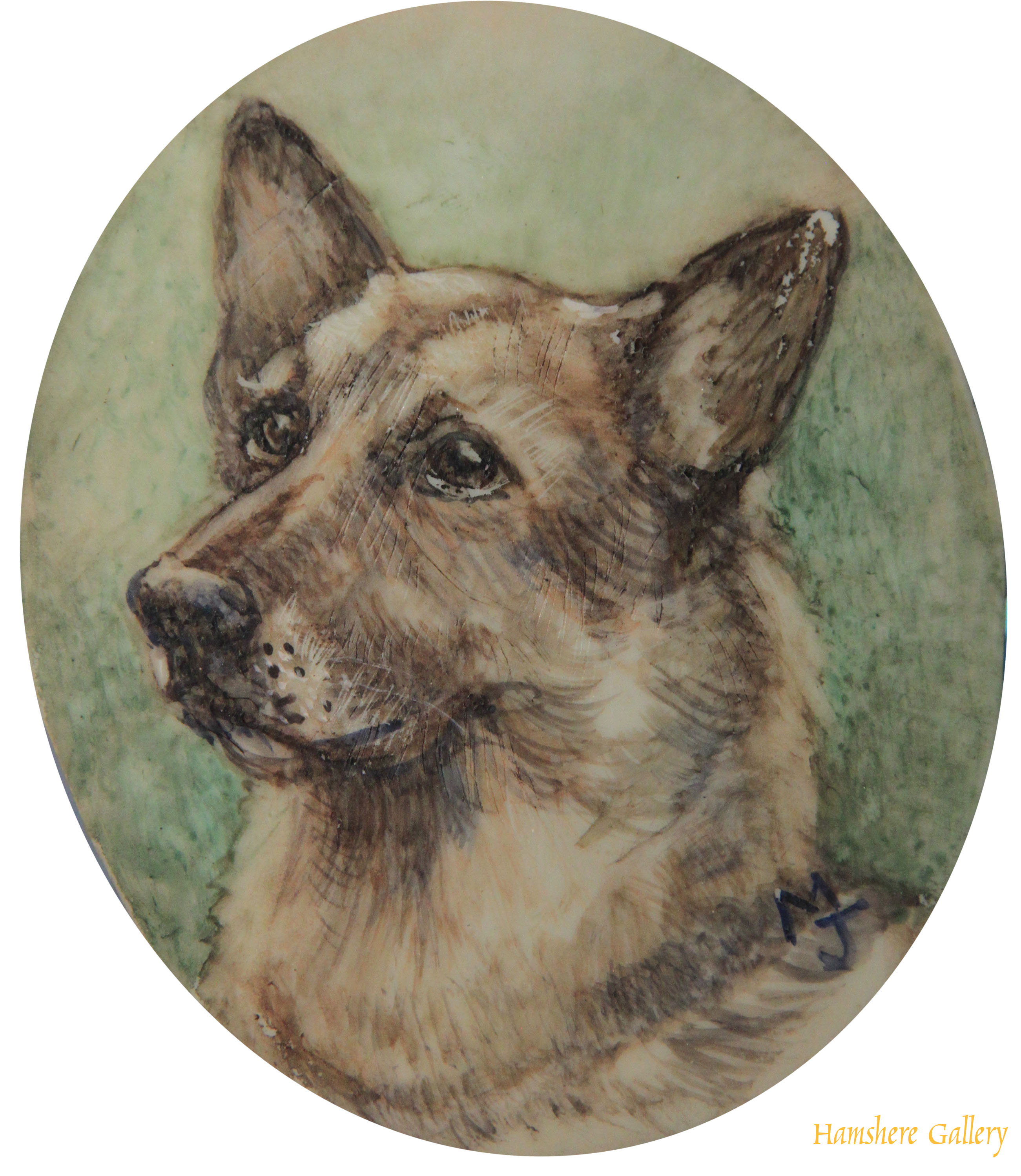 Click to see full size: Miniature on ivorine of a German Shepherd