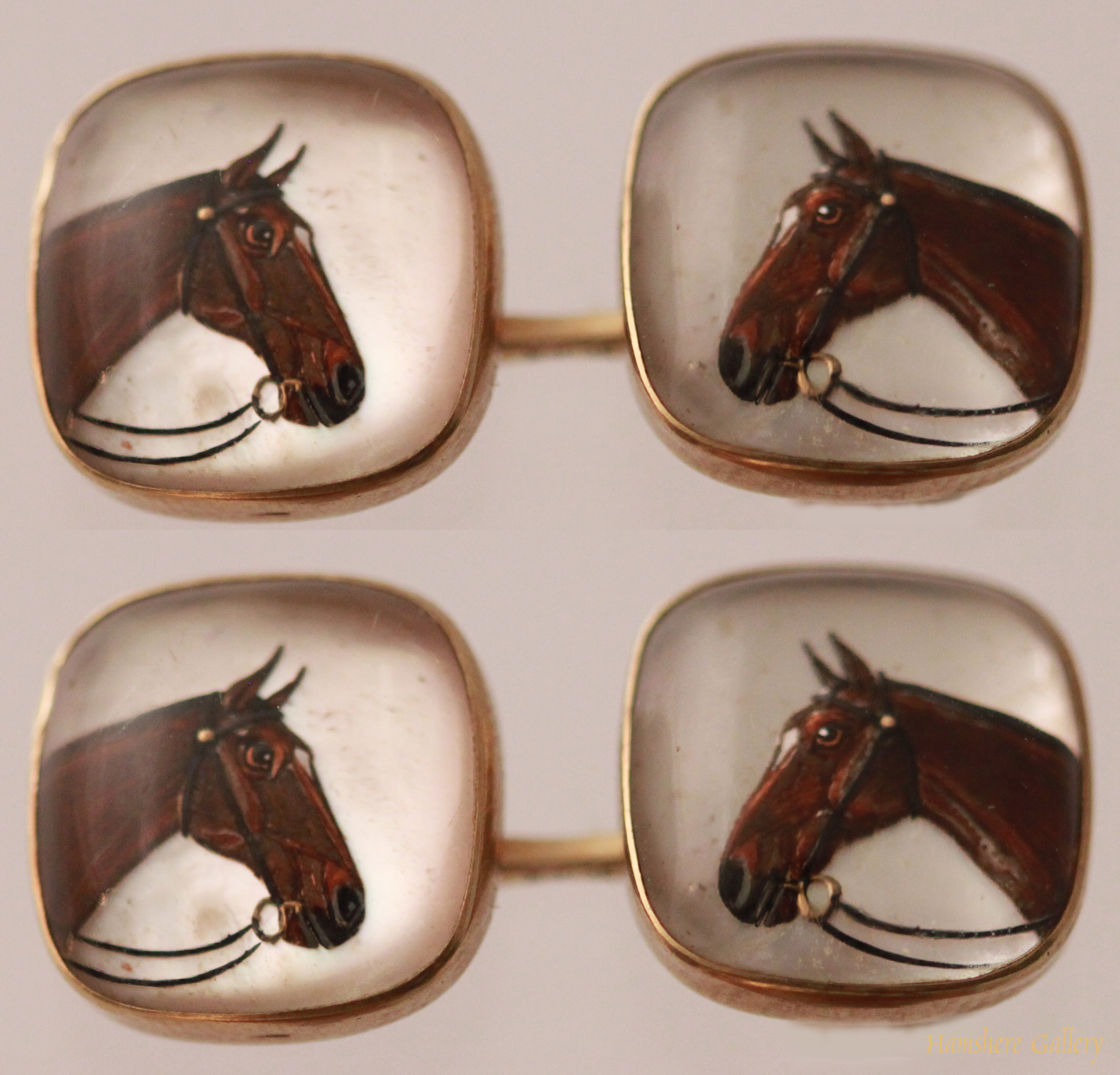 Click to see full size: Reverse intaglio crystal double sided horse cufflinks