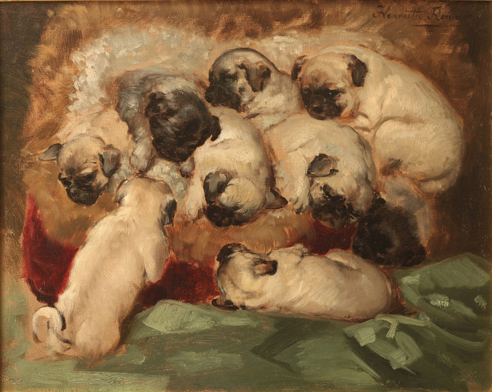 Click to see full size: Pug Puppies by Henriette Ronner-Knip