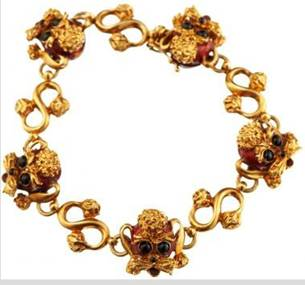 Click to see full size: Gold and enamel Poodle bracelet