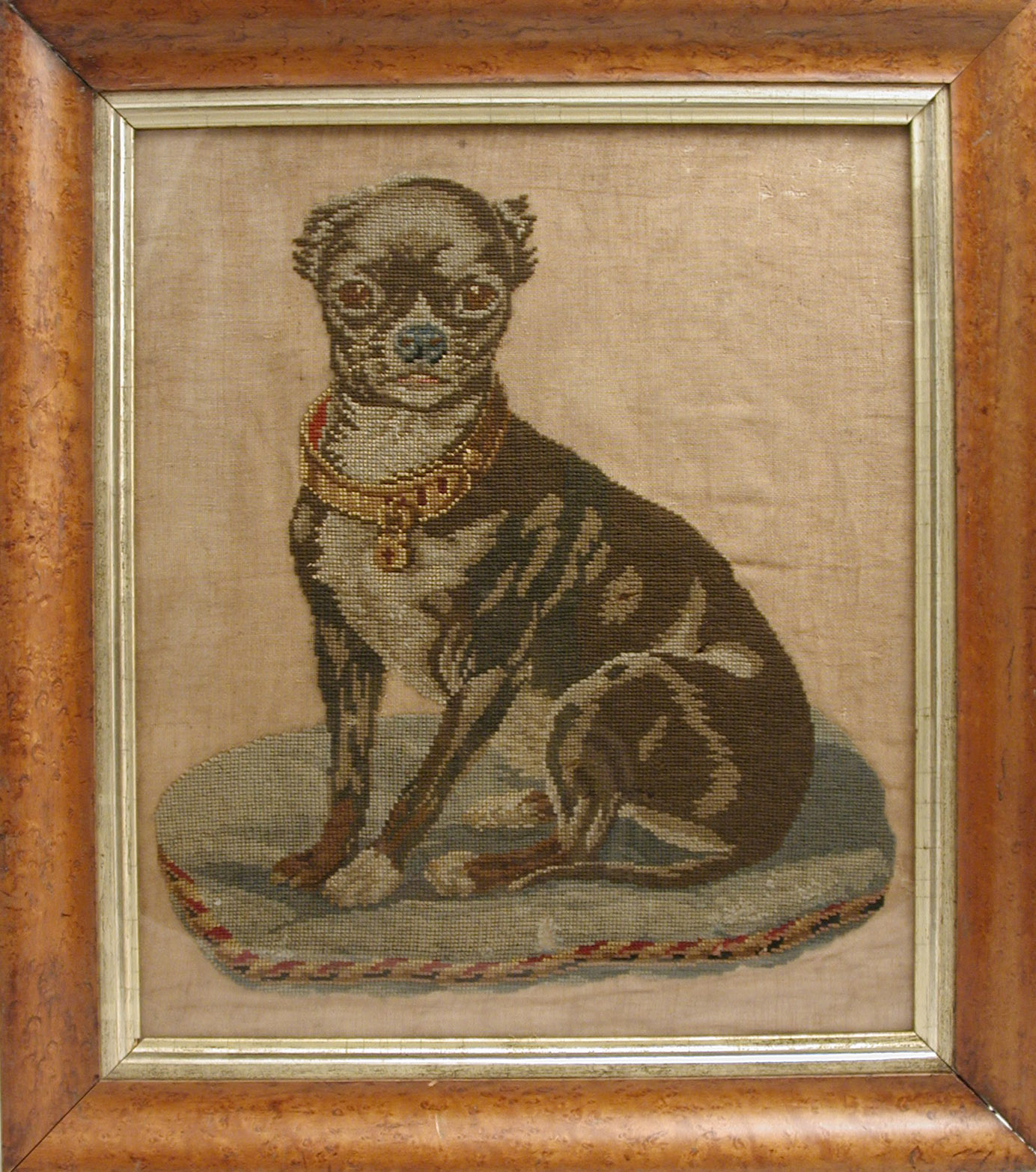 Click for larger image: Needlepoint  needlework  textile  tapestry of a Bruxellois Griffon  Brabancon - Needlepoint  needlework  textile  tapestry of a Bruxellois Griffon  Brabancon