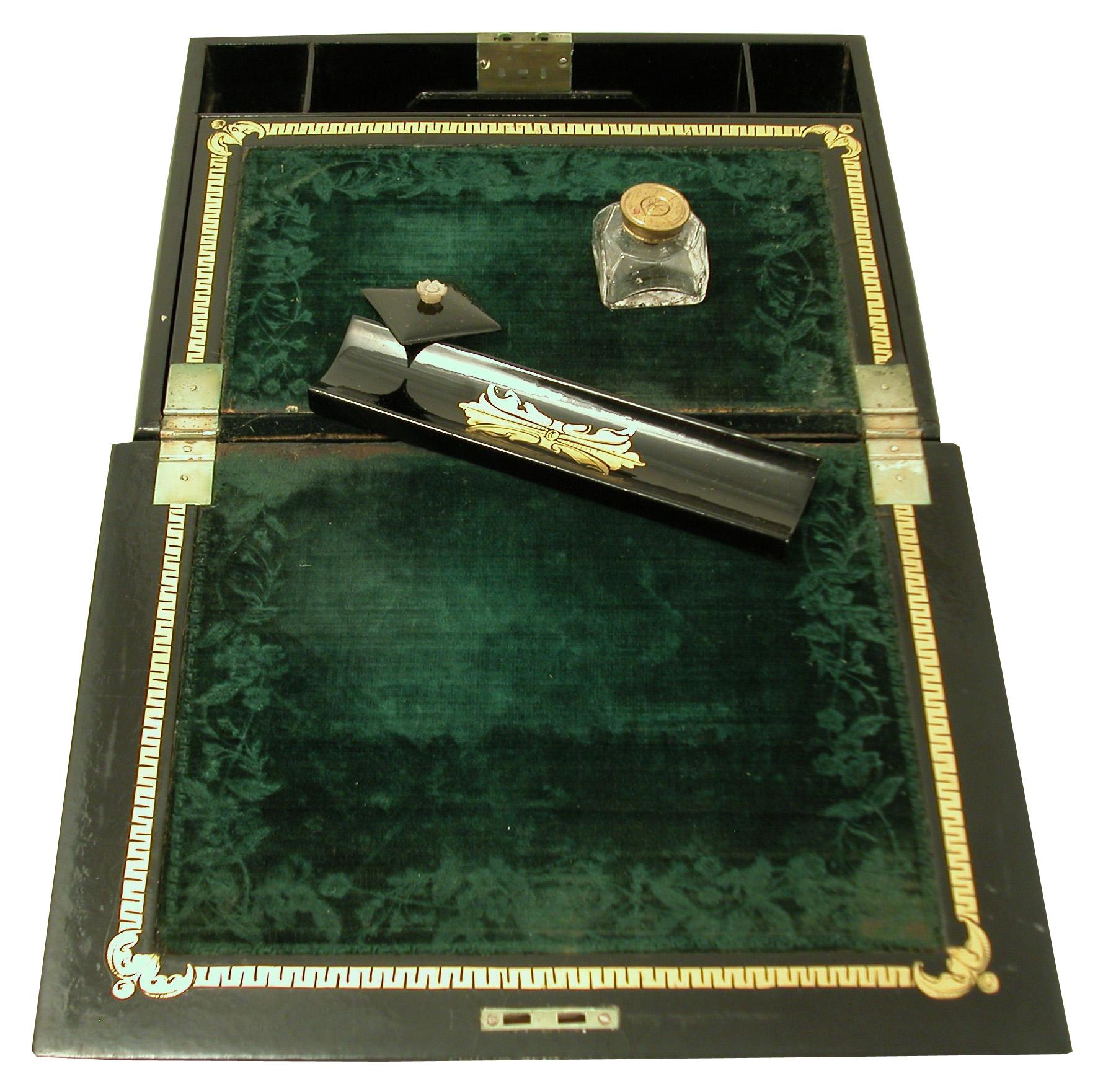 Click for larger image: A Japanned Papier M�ch� Scottish Deerhound writing box - A Japanned Papier M�ch� Scottish Deerhound writing box