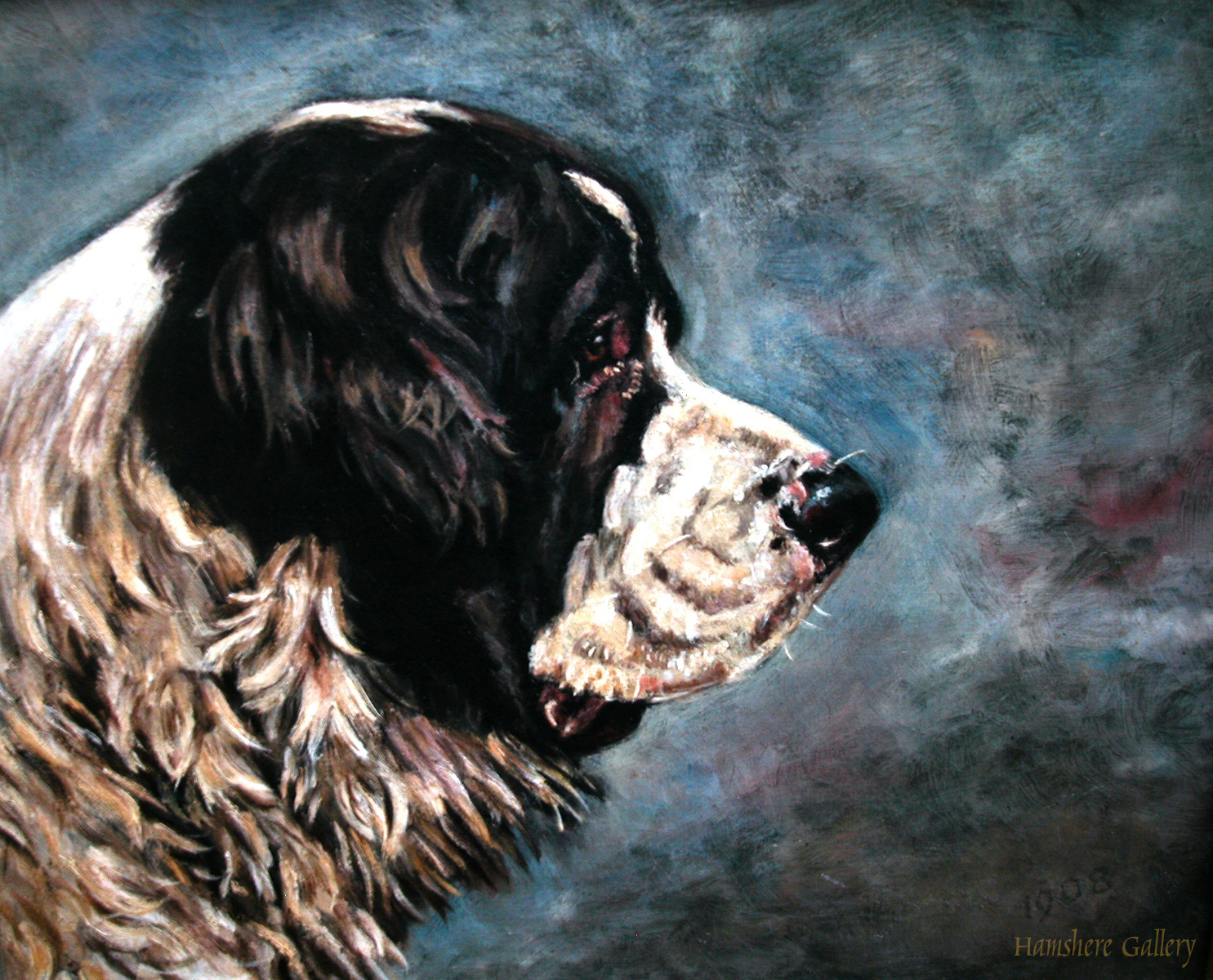 Click to see full size: Oil painting on canvas of a Landseer Newfoundland by Thomas Frederick Daws- Oil painting on canvas of a Landseer Newfoundland by Thomas Frederick Daws