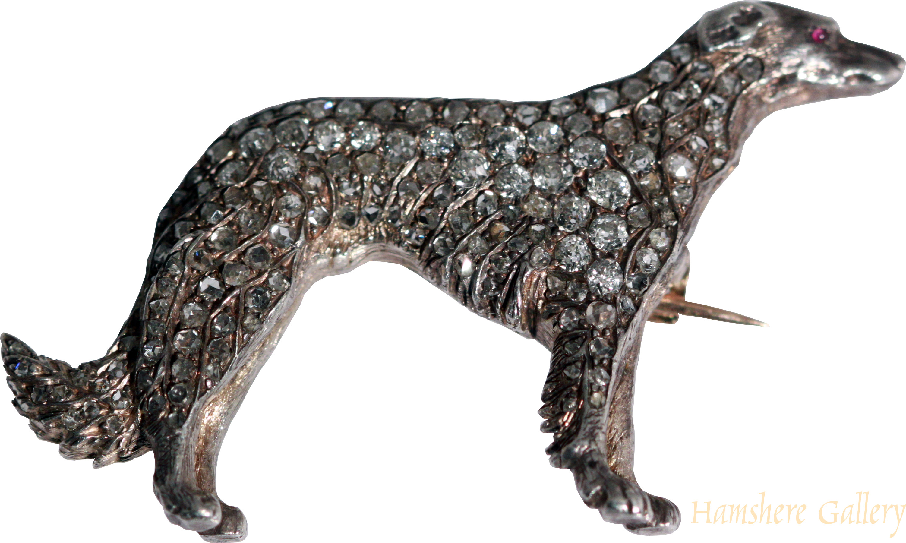 Click to see full size: Victorian diamond Greyhound brooch