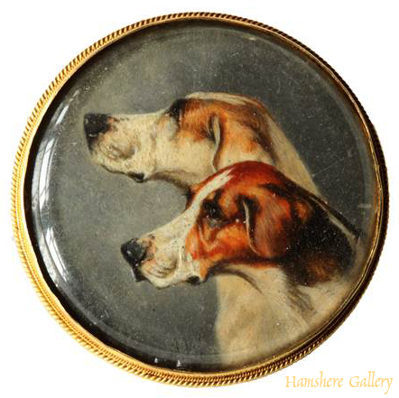 Click to see full size: Watercolour of two foxhounds by Alfred Wheeler set in Brooch