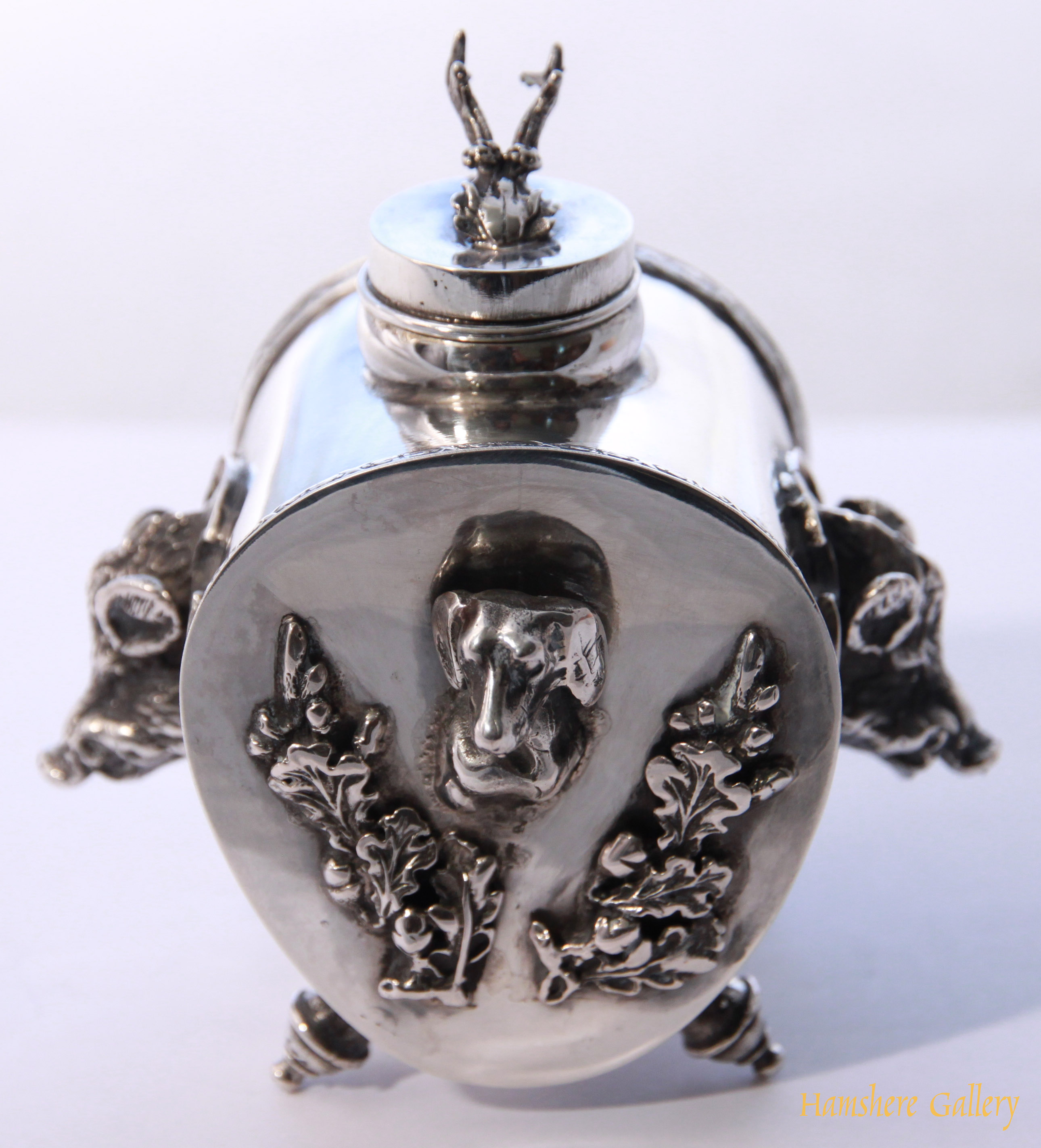Click to see full size: Russian silver hunting inkwell