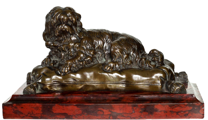 Click to see full size: Early 19th century French bronze of a Maltese- Early 19th century French bronze of a Maltese